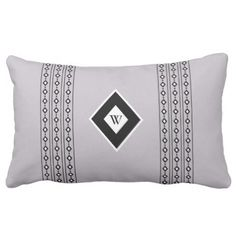 Monogram Abstract Black and White Diamonds Lumbar Pillow  $37.55  by Merry_Wrinkle  - cyo customize personalize diy idea
