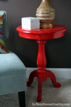 Glossy lipstick-red side table - Rust-Oleum Painter's Touch Ultra Cover spray…