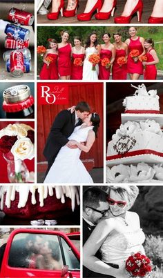 Wedding colors, Red wedding colors, Red accents, Red collage, Red, Red shoes, Red roses, rose bouquet, wedding cake, wedding dress, wedding photography, Colorado wedding