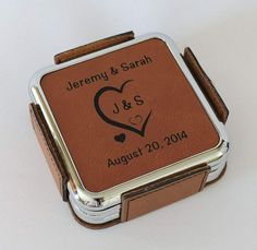Leather Coasters Personalized with Initials Carved in Heart and Wedding Date 3rd Wedding Anniversary Gift Ideas, Leather Coasters, Personalized Coasters, Initials, Carving, Romantic, Heart, Wood Carving, Sculpture