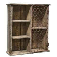 New Primitive Country Rustic Farmhouse Wood Crate Box Chicken Wire Shelf Cabinet #Handmade