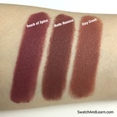 Maybelline Creamy Matte Lipstick in Touch of Spice compared to the new limited-edition shades, Nude Nuance and Clay Crush.