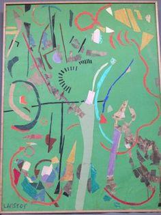 LANSKOY André-( 1902-1976) Composition sur fond vert- Exceptionelle par la taille collages et gouache marouflés sur toile- signé en bas à gauche LANSKOY en collage- réalisée par l'artiste en 1965 dans le cadre de la série des collages exécutés pour le journal d'un fou de Gogol- 201 X 150cm Certificat d'authenticité d'André Schoeller sera remis à l'acheteur - Copages Auction Paris - 28/09/2015