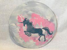Unicorn on White Art Wall Hanging 12 Upcycled Vinyl