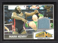 BEST OF WWE 2013 (Topps) AUTHENTIC WRESTLEMANIA 29 MAT RELIC of MARK HENRY