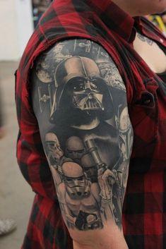 http://tattooideas247.com/star-wars/ Star Wars Tattoo #DarthVader, #Sleeve, #StarWars, #StormTroopers