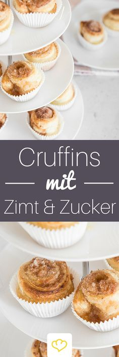 - Cruffins mit Zimt und Zucker: Guten-Morgen-Muffins Croissant or dear muffin? Thanks to Cruffins, you no longer have to choose one or the other – just enjoy both in a treat! Cupcake Recipes, Baking Recipes, Cupcake Cakes, Dessert Recipes, Bread Recipes, Desserts To Make, Party Desserts, No Bake Desserts, Fudge Caramel