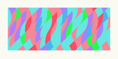 Bridget Riley, From One to the Other, Screenprint in colours, 2005. Signed in pencil and numbered from the edition of 75. Printed by Artizan Editions, Hove. Published by the artist. (Schubert 61), 44.5 x 99 cm. © Bridget Riley 2014. All rights reserved, courtesy Karsten Schubert, London.