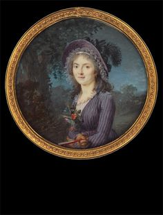 Lady in Violet Gown with Feather-Trimmed Hat, approx. 1796. This portrait of a lady with a fashionable feather-trimmed hat, a summer bouquet at her corsage and a fan in her hands is one of Marie Gabrielle Capet' s masterpieces.