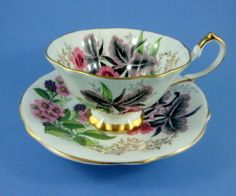 Striking Black Orchids Queen Anne Tea Cup and Saucer Set | eBay