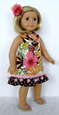 American Girl Doll Clothes 18 inch Doll Clothing Pink, Orange, Brown Floral Hawaiian Sundress Pink Pom Pom Trim via Etsy