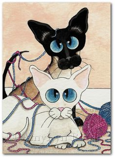 Playing with Yarn - Siamese Cat Oriental White Art - Art Prints or ACEO by Bihrle ck205