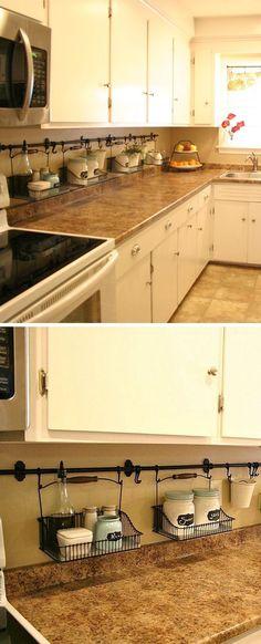 20 DIY Kitchen Organization And Storage Hacks Ideas – Onechitecture – apartment hacks Kitchen Organization, Kitchen Storage, Kitchen Decor, Organization Ideas, Kitchen Ideas, Kitchen Hacks, Kitchen Designs, Office Storage, Pantry Organisation