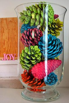 Super cute neon pine cones!  If I ever got brave enough to veer from traditional Christmas colors!  @Julie Wakley this reminds me of your tree a few years ago!