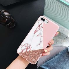 iPhone 7 Plus Case Soft Silicone Phone Pink Marble Clear Golden Pattern Great Protect Fits for iPhon Iphone 7 Plus Cases, Iphone Phone Cases, Phone Cover, Iphone 6, Girly Phone Cases, Diy Phone Case, Iphone 7plus Rose Gold, Aesthetic Phone Case, Silicone Phone Case