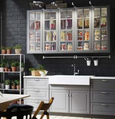 SEKTION 10'×10' kitchen with BODBYN gray doors, drawer fronts, glass doors and MAXIMERA soft-closing drawers $1899