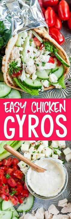 These quick and easy chicken gyros with Greek feta sauce are so super versatile and great for a speedy lunch or a fuss-free weeknight dinner. You can use grilled, baked, rotisserie, or even leftover chicken or go veggie and add sautéed onions and peppers to the mix!