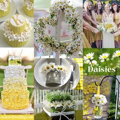 Daisy Wedding Theme -  Daisies create a casual feel and are an especially good choice for rustic and country chic weddings. All of our color-story collages can be found here:  http://pinterest.com/exclusivelywed/wedding-color-stories/   #exclusivelyweddings
