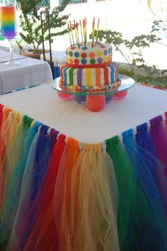 Candy Land or Rainbow Party Theme Ideas.  Hang Multiple Strips of Tulle Fabric (From Rolls) Around The Perimeter of Your Cake Table. Create & decorate your main table, centerpiece, table scape & backdrop to match your theme.  Kids Birthday Party DIY Inspiration.