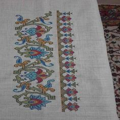 Hand embroidered table runner cross-stitch table by RugsNBags Cross Stitch Borders, Cross Stitch Flowers, Cross Stitch Designs, Cross Stitching, Cross Stitch Patterns, Hungarian Embroidery, Folk Embroidery, Cross Stitch Embroidery, Embroidery Patterns