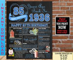 85th Birthday Chalkboard Poster, 1936 Birthday Party Decoration Sign, 85th Birthday Gift for Woman or Man- Born in 1936 | INSTANT DOWNLOAD 80th Birthday Party Decorations, Happy 40th Birthday, 70th Birthday Parties, Birthday Gift For Him, Birthday Gifts For Women, Birthday Fun, Birthday Signs, 85th Birthday, Blue Birthday