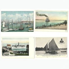 4 Yacht Paddle Wheel Steamboat Postcards Postally Unused Vintage Antique