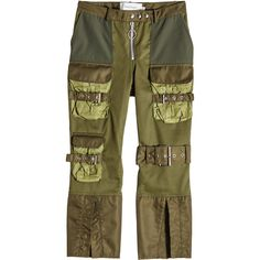 Marques' Almeida Patchwork Multi-Pocket Cropped Pants ($620) ❤ liked on Polyvore featuring pants, capris, green, multi pocket pants, green pants, shiny pants, wet look pants and pull on pants