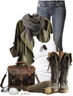 """Early Spring Weather"" by cynthia335 on Polyvore uunngghhh those BOOTS!! ditch the dog tags.. and the man watch & cabbie hat.."