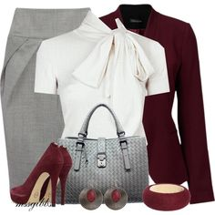 Grey pencil skirt, white blouse with burgundy jacket and accessories