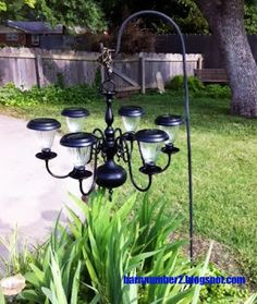 : I finally saw the light, DIY Solar Chandelier – Solar Light Crafts Solar Patio Lights, Solar Lamp, Patio Lighting, Lighting Ideas, Outdoor Lamps, Outdoor Carpet, Landscape Lighting, Outdoor Chairs, Diy Solar