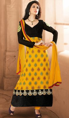Black and Yellow Georgette Long Churidar Suit Price: Usa Dollar $111, British UK Pound £65, Euro82, Canada CA$121 , Indian Rs5994.