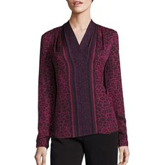 KOBI HALPERIN Faye Silk Cheetah-Print Blouse ($260) ❤ liked on Polyvore featuring tops, blouses, apparel & accessories, merlot, v neck tops, v-neck pullover, cheetah blouse, v neck pullover and sweater pullover