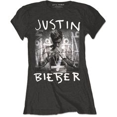 Justin Bieber Official Purpose Album Logo  New Womens black Skinny Fit T Shirt