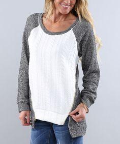 Another great find on #zulily! Charcoal & Ivory Zipper Raglan Sweater - Women #zulilyfinds