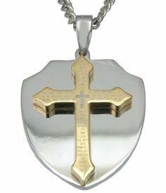 Men s Stainless Steel Lord s Prayer Shield Pendant Necklace b50095b667b4