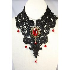 Black lace necklace with red glass cabochon. via Polyvore featuring jewelry, necklaces, glass jewelry, glass cabochon jewelry, red jewellery, lace jewelry and cabochon jewelry