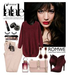 """Romwe Red Sweater"" by diva1 ❤ liked on Polyvore featuring IVI, Roberto Cavalli, Jessica Simpson, Valentino, Effy Jewelry, NARS Cosmetics, Bobbi Brown Cosmetics, contest, red and Sweater"