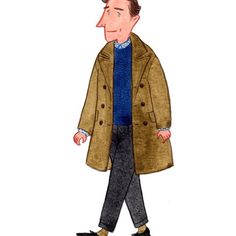 Mustard coat from Margaret Howell #menswear #mensfashion #fashionillustration #streetstyle #margarethowell
