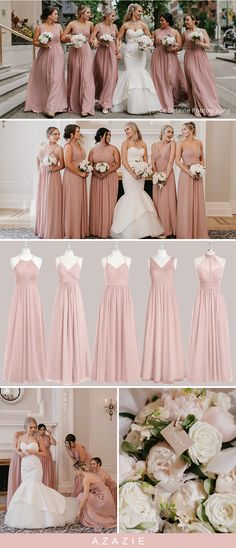 Wedding Color Trends: Dusty Rose Bridesmaid Dresses Choose your classic dusty rose bridesmaid gown from our selection. See Azazie's bridesmaids wearing dusty rose dresses and let yourself be inspired! Dusty Rose Bridesmaid Dresses, Dusty Rose Dress, Dusty Rose Wedding, Wedding Bridesmaids, Wedding Dresses, Bridesmaid Color, Classic Bridesmaids Dresses, Spring Wedding, Dream Wedding