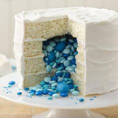 Surprise on the Inside Gender Reveal Cake. Do a little different but good idea