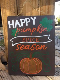 HAPPY PUMPKIN SPICE SEASON WOOD SIGN / FALL DECOR   A personal favorite from my Etsy shop https://www.etsy.com/listing/245504381/free-shipping-happy-pumpkin-spice