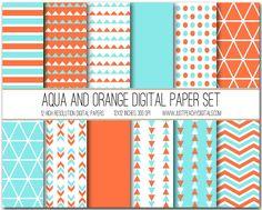 Aqua And Orange Digital Paper Set