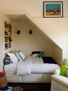 Beach House in the Hamptons {If I Lived Here Adorable built-in bed nook by Sawyer Berson Architects This image has. Alcove Bed, Bed Nook, Bedroom Nook, Kids Bedroom, Kids Basement, Basement Stairs, Basement Plans, Basement Ideas, Stair Storage