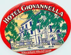 Hotel Giovanella ~MONTE NORRIO / ITALY~ Great ART DECO Old Luggage Label