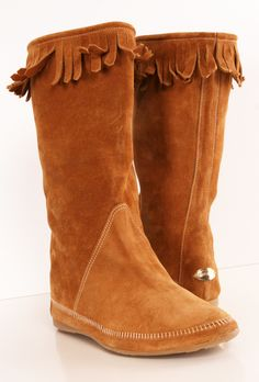 Jimmy Choo tan moccasin flat boots