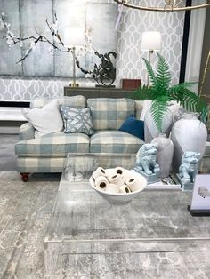 Being a designer for over 20 years I frequently source from Ballard Designs . the great brand started by Helen Ballard Weeks in Ginger Jar Lamp, Ginger Jars, White Pitchers, Florida Living, Ballard Designs, Lamps, Blue And White, Couch, Throw Pillows