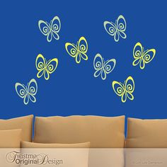 Vinyl Wall Decals: 8 Wall Butterflies for Your Bedroom Decor or Nursery