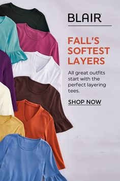 Let there be LAYERS! All great outfits start with the perfect layering tees. Polo Shirt Women, Tees For Women, Clothes For Women, Fall Outfits, Cute Outfits, Fashion Outfits, Tee Online, Style Me, Layers