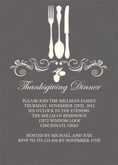 Custom Thanksgiving Invitations for less than $1 each