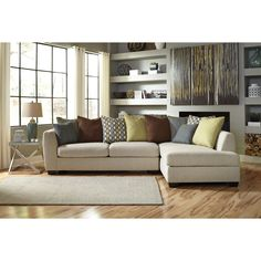 Beige sectional on pinterest orange furniture sectional for Ashley beige sofa chaise